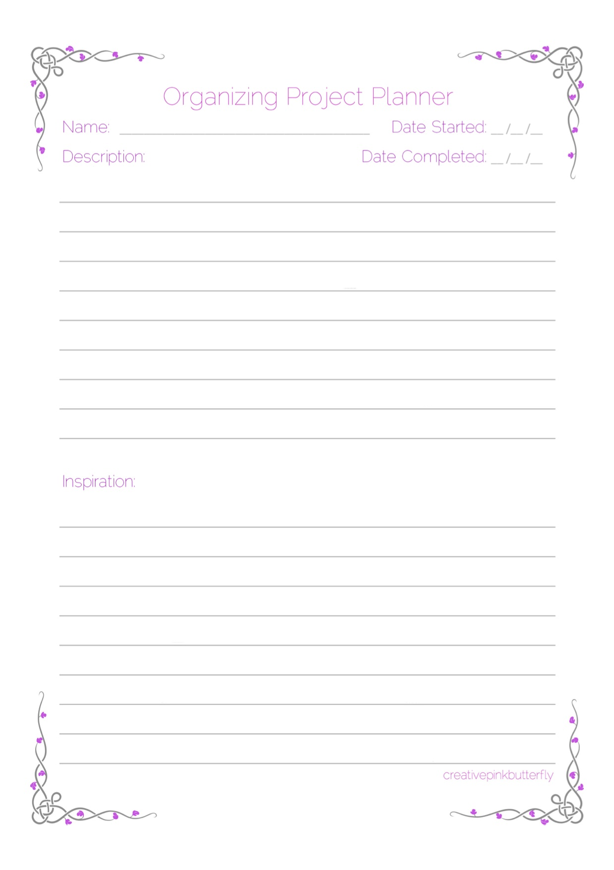 Organizing Project Planner Printable Creative Pink Butterfly