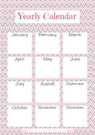 1 Year Calendar