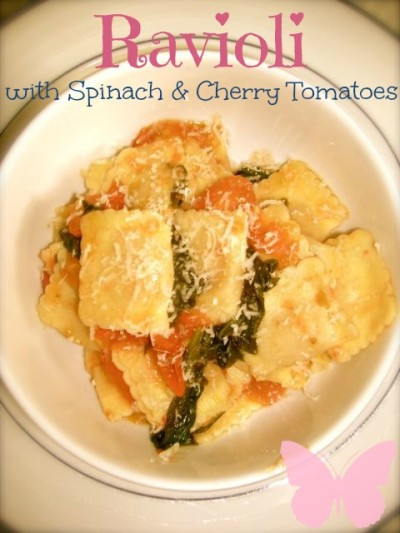 Ravioli with spinach and cherry tomatoes
