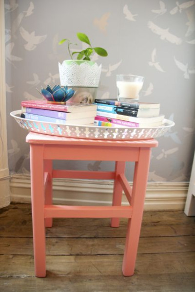 Coral Stool with Tray
