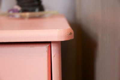 Coral Distressed Nightstand