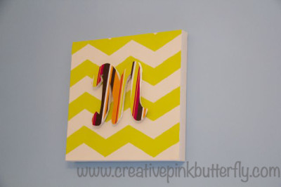 Chevron Canvas with Letter