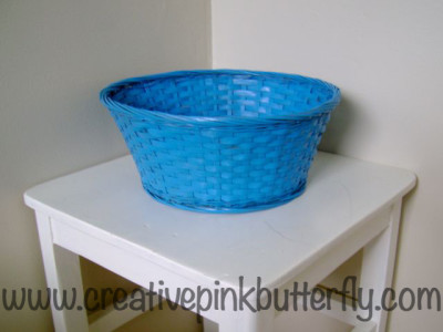 DIY Spray Painted Blue Basket