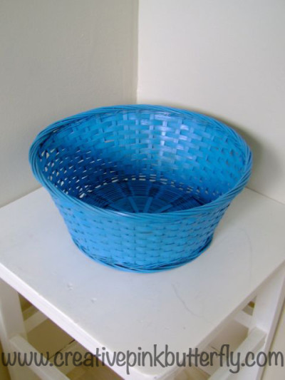 Simple Spray Painted Blue Basket