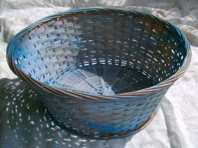 Spray Painted Blue Basket - 3