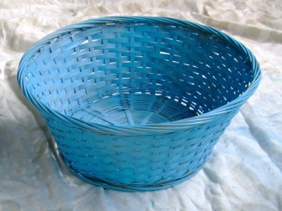 Spray Painted Blue Basket - 4