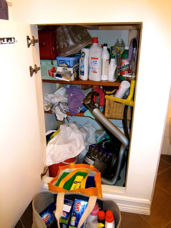 Organizing Cleaning Supply Closet Before