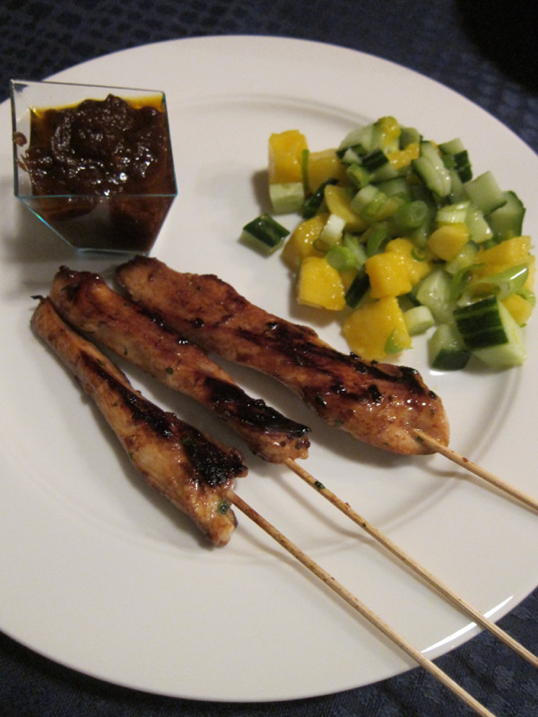 Chicken Satay with Peanut Sauce and Mango Salad