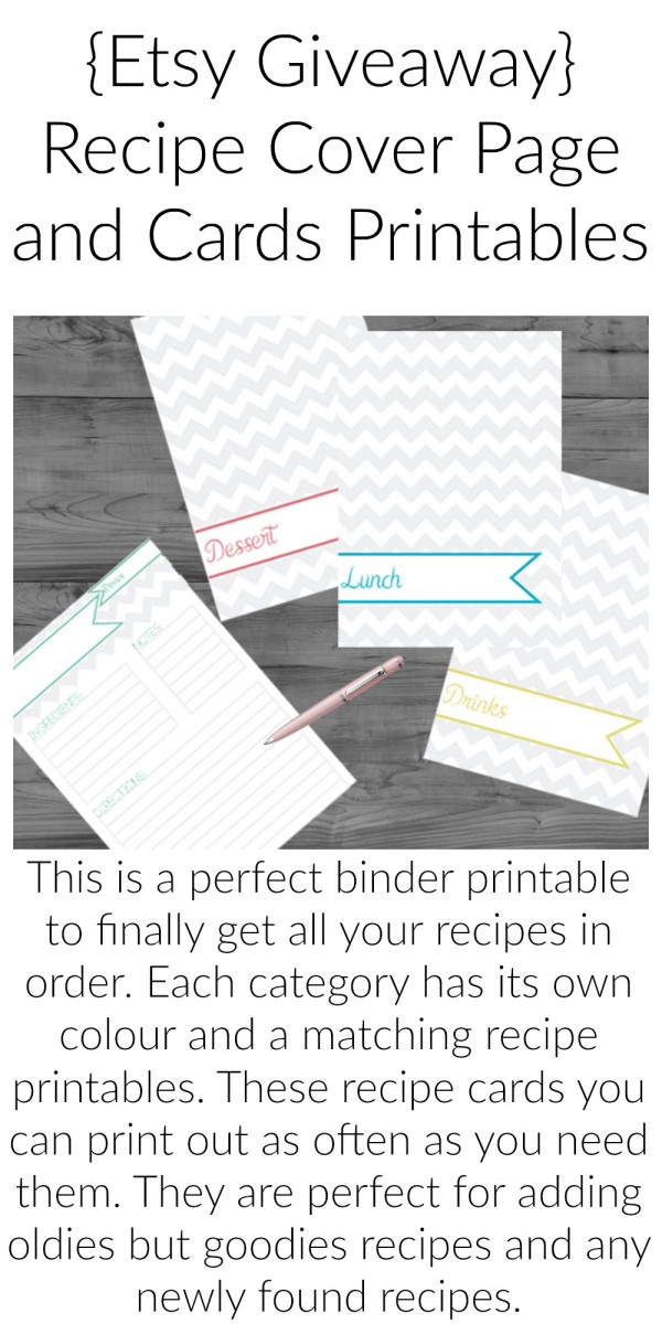 {Etsy Giveaway} Recipe Cover Page and Cards Printables