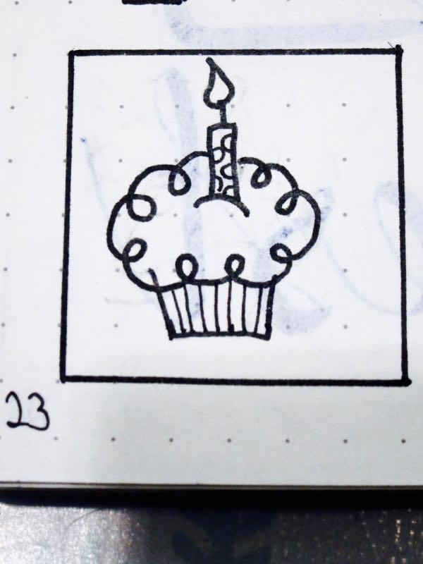 Happy Birthday Cupcake Doodle
