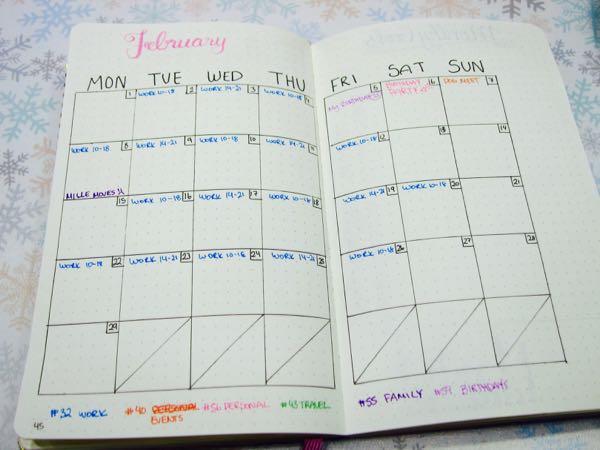 Bullet Journal February Calendar