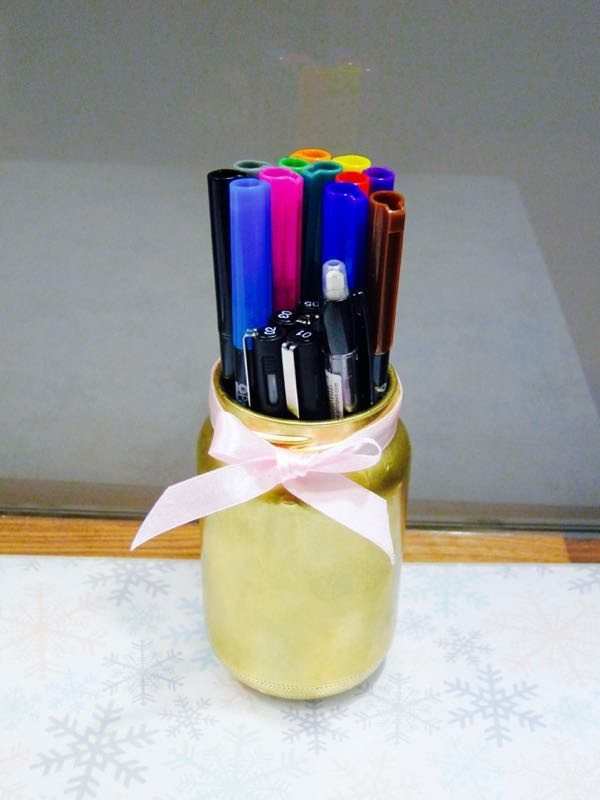 Gold Sprayed Pencil Holder