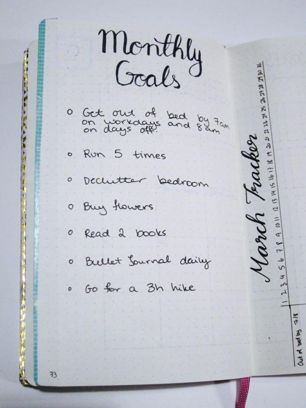 March Goals Bullet Journal