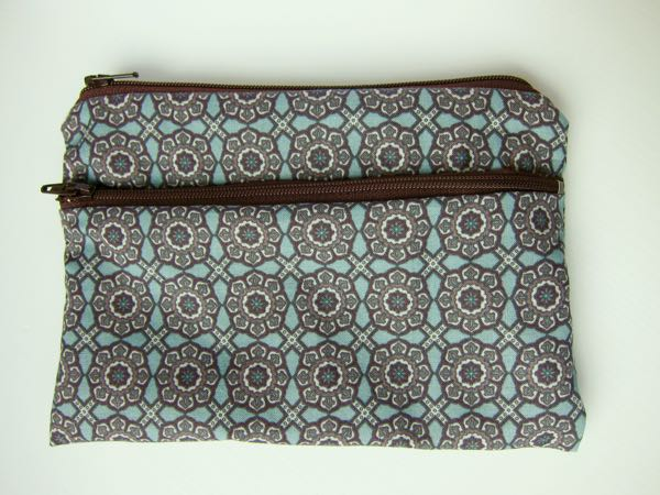 Pouch with two zippers