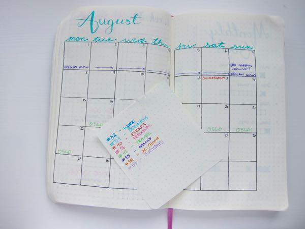 Bullet Journal: August set-up