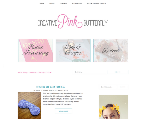 Blog Design - Creative Pink Butterfly