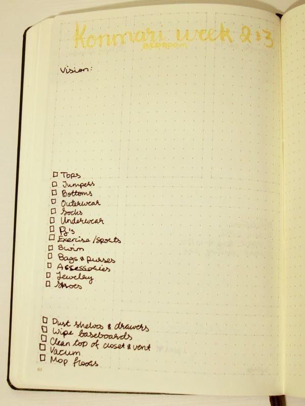 Konmari 26 week Challenge - Bullet journal overview
